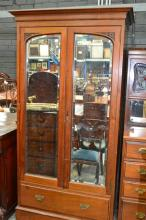 Unusual Edwardian Cedar Wardrobe, with two shaped mirror panel doors, two leadlight doors, shelves and five drawers.Width 193cm