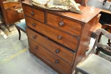 Victorian Mahogany Chest Of Five Drawers, the lower drawer with attached plinth. Width 106cm