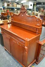 Late C19th Cedar Chiffonnier with small shelf, long drawer and two shield panel doors. Width 122cm (Key In Office)