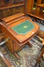 Victorian Inlaid Walnut Davenport with Stationery Compartment, Hinged writing slope and four drawers. (Key In Office)