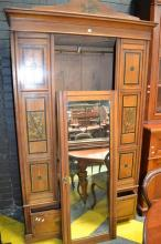 Victorian Aesthetic Style Walnut & Painted Wardrobe, with single mirror door, floral panels & long drawer below