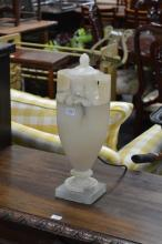 Turned 1920s Alabaster Urn Style Lamp with Cover