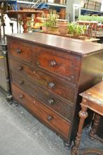 Early C19th Mahogany Chest of Drawers, the Top folds to reveal a hinged compartment above three long drawers.Width 123cm