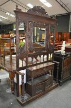 Early 20th Century Carved Oak Hallstand with Long Drawer shelf and 2 Panel Doors (spare hooks in office)