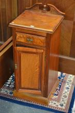 Late Victorian Walnut Bedside Cabinet with Single Door and Drawer. Makers Label P. Beakey