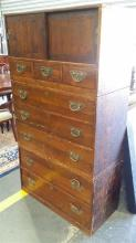 Early 20th Century Japanese Camphor Tansu Chest, in three sections, with eight drawers, two doors & butteffly handles