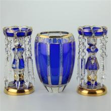 Bohemian Cobalt Blue Cut to Clear Glass Lustre Suite