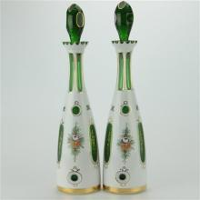Bohemian Overlay Cased Glass White Cut To Green Painted Decanters