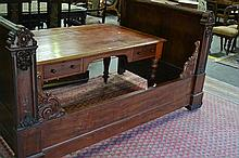 Mid 19th Century French Carved Mahogany Single Bed