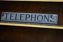 Pair Of Glass Telephone Signs