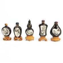Ivory & Horn Engraved Ivory Snuff Bottles