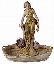 Royal Dux Art Nouveau Figural Dish of a Maiden