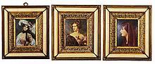 Miniature Hand Painted Set of Three Portraits