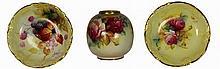 Royal Worcester Floral Vase & Two Dishes
