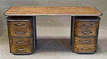 An Industrial Art Deco Twin Pedestal Desk