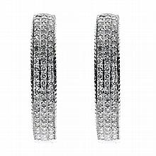 Ladies 9ct white gold Diamond Hoop Earrings