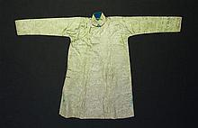 19C Chinese Ceremonial Robe in pale lime green silk brocade