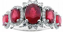A Ruby and Diamond Cluster Ring