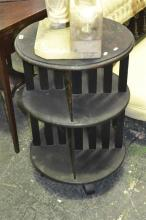 1920s Possibly Maple Round Revolving Bookcase, of two tiers