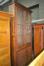 Probably Late Georgian Mahogany Bookcase w Gothic Astragal Doors enclosing Fully Adjustable Shelves & 2 Panel Doors Below