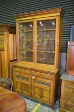 Late Victorian Oak Bookcase, with two glass panel doors, two drawers & two carved panel doors
