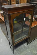 Victorian Inlaid Mahogany Vitrine w Astragal Door & Tapering Legs (Key in Office)