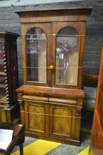 Victorian Mahogany Bookcase w 2 Glass Panel Doors, Long Drawer & 2 Panel Doors Below