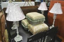 3 Upholstered Top Foot Stools & Set of 4 Bedside Lamps