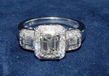 1.12ct. Emerald Cut Diamond Ring 18K-EGL VS2