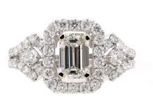 1.00ct. Emerald Cut Diamond Ring 18K-EGL SI1-D