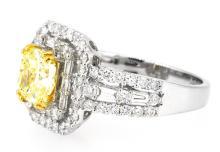 1.51ct. Fancy Yellow Light Diamond Ring 18K-GIA