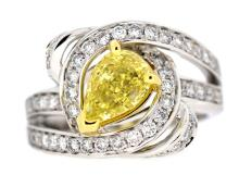 2.05ct. Fancy Intense Yellow Diamond Ring