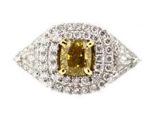 1.01ct. Fancy Vivid Yellow Diamond Ring 18K-GIA