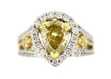 2.03ct. Fancy Yellow Diamond Ring 18K-GIA