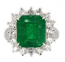 6.12ct. Center Colombian Emerald Ring 18K