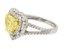 2.21ct. Heart Fancy Yellow Diamond Ring 18K-GIA