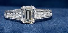 1.05ct. Center Emerald Cut Diamond Ring 18K-EGL VVS2-F