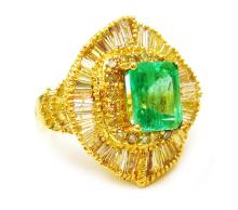 3.35ct. Center Emerald Ring 18K
