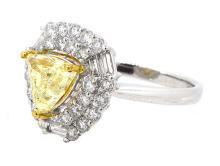 1.51ct. Center Fancy Yellow Diamond 18K-GIA