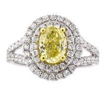 1.34ct. Center Fancy Yellow Diamond Ring 18K-GIA