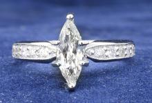 1.01ct. Center Marquise Diamond Ring 18K-EGL VS2-F
