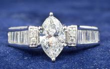 1.05ct. Center Marquise Diamond Ring 18K-EGL SI2-D