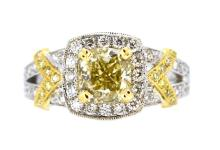 1.30ct. Center Fancy Yellow Diamond Ring 18K-GIA