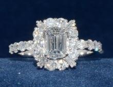 .90ct. Center Emerald Cut Diamond Ring 18K-EGL VS2-D