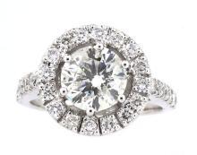 2.08ct. Center Round Diamond Ring 18K-EGL SI2-D