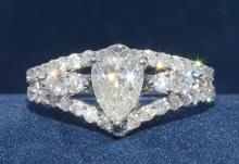 1.01ct. Center Pear Diamond Ring 18K-EGL VS2-F
