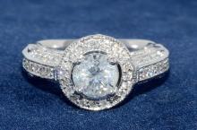 1.00ct. Center Round Diamond Ring 18K-EGL SI1-E