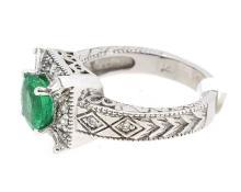 1.49ct. Center Round Emerald Ring 14K