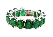 9.22ct.tw Oval Emeralds Ring 18K