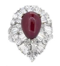 7.87ct. Center Pear Shape Ruby Cabochon Ring 18K